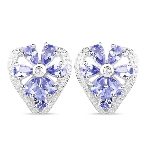 Earrings-2.97 Carat Genuine Tanzanite & White Topaz .925 Sterling Silver Earrings