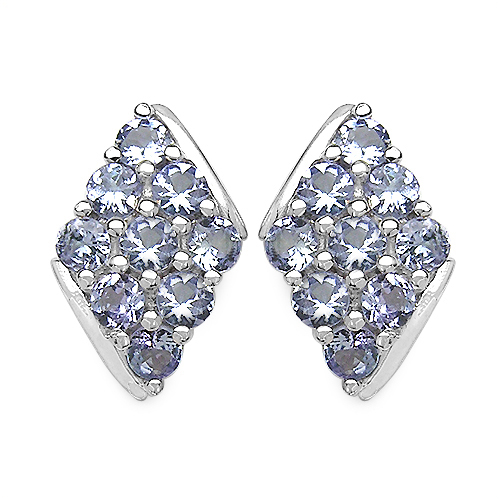 Earrings-1.66 Carat Genuine Tanzanite .925 Sterling Silver Earrings