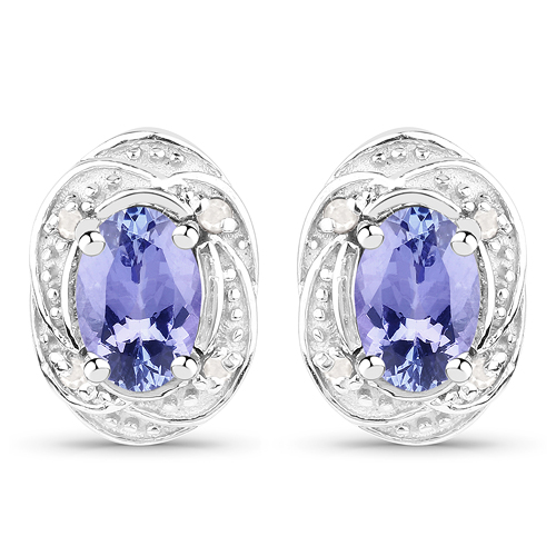 Earrings-0.92 Carat Genuine Tanzanite and White Diamond .925 Sterling Silver Earrings