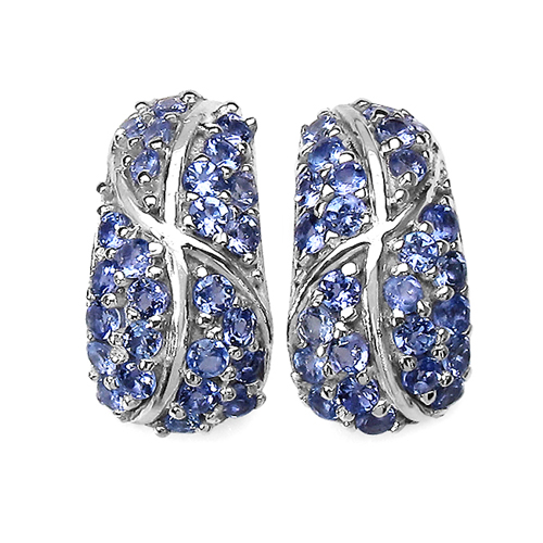 Earrings-1.79 Carat Genuine Tanzanite .925 Sterling Silver Earrings