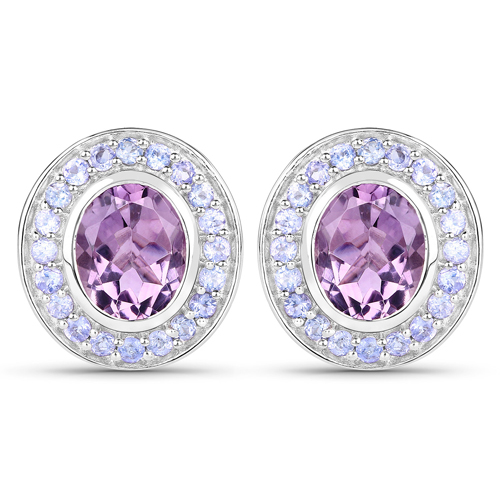 Amethyst-5.50 Carat Genuine Amethyst and Tanzanite .925 Sterling Silver Earrings