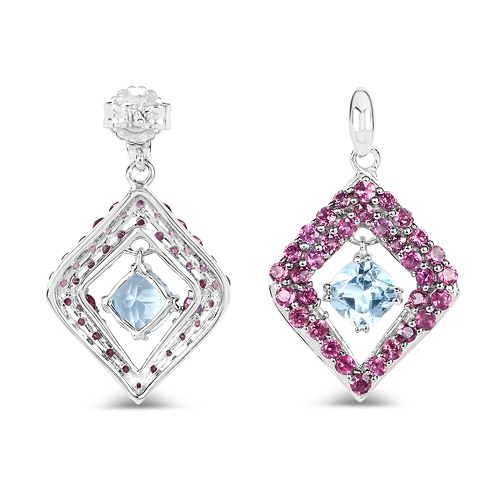 5.70 Carat Genuine Blue Topaz & Rhodolite .925 Sterling Silver Earrings