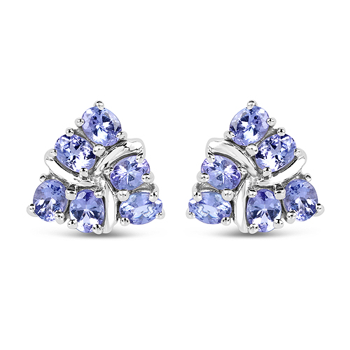 Earrings-2.04 Carat Genuine Tanzanite .925 Sterling Silver Earrings