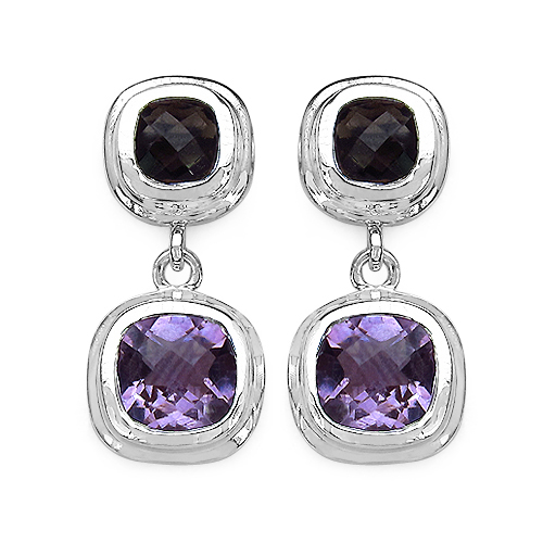 Amethyst-6.70 ct. t.w. Amethyst and Smoky Quartz Earrings in Sterling Silver