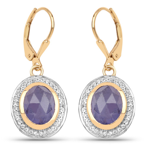 Earrings-14K Yellow Gold Plated 7.42 Carat Genuine Tanzanite and White Topaz .925 Sterling Silver Earrings