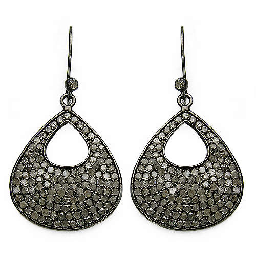 Earrings-3.03 Carat Genuine Diamond .925 Sterling Silver Earrings