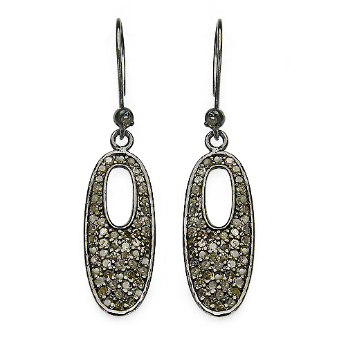 Earrings-1.20 Carat Genuine Diamond .925 Sterling Silver Earrings