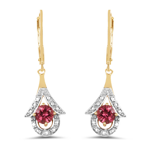 Earrings-14K Yellow Gold Plated 2.12 Carat Genuine Pink Tourmaline .925 Sterling Silver Earrings