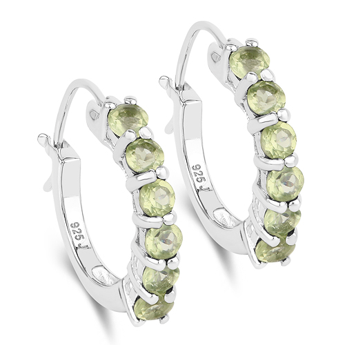 Peridot-1.20 Carat Genuine Peridot .925 Sterling Silver Earrings