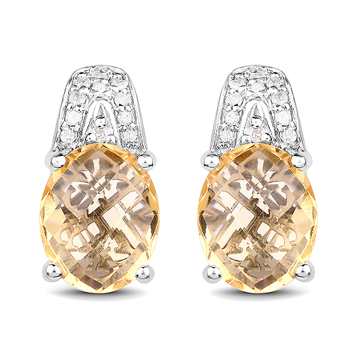 Citrine-4.85 Carat Genuine Citrine and White Diamond .925 Sterling Silver Earrings