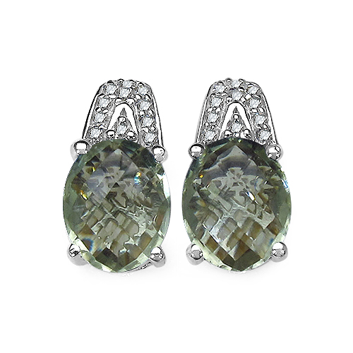 Amethyst-5.25 Carat Genuine Green Amethyst and 0.15 ct.t.w Genuine Diamond Accents Sterling Silver Earrings