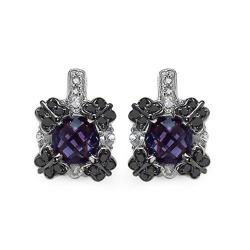 Amethyst-2.67 Carat Genuine Amethyst, White Sapphire & Black Diamond .925 Streling Silver Earrings