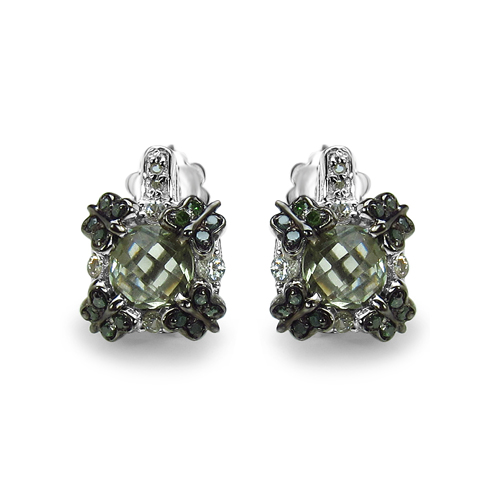 Amethyst-2.91 Carat Genuine Green Amethyst, White Sapphire & Green Diamond .925 Sterling Silver Earrings