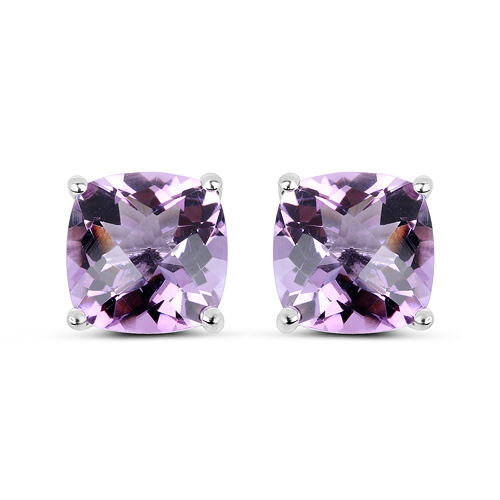 Amethyst-7.16 Carat Genuine Pink Amethyst Sterling Silver Earrings