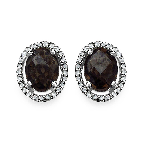 Earrings-2.39 Carat Genuine White Diamond & Smoky Quartz .925 Streling Silver Earrings