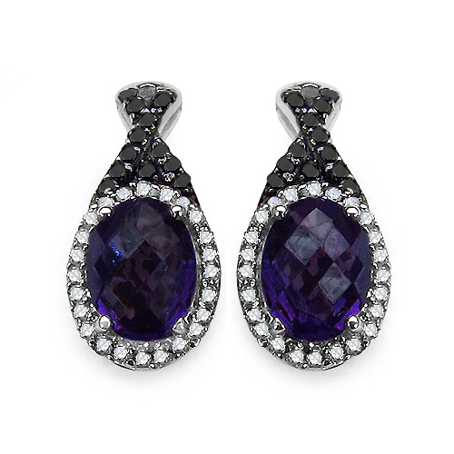 Amethyst-2.71 Carat Genuine Amethyst, Black Diamond & White Diamond .925 Streling Silver Earrings