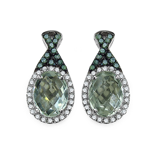Amethyst-2.55 Carat Genuine Green Amethyst, Green Diamond & White Diamond .925 Sterling Silver Earrings