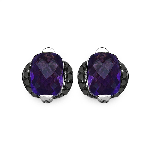 Amethyst-3.14 Carat Genuine Amethyst & Black Diamond .925 Streling Silver Earrings