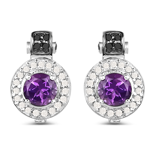 Amethyst-2.29 Carat Genuine Amethyst, Black Diamond and White Diamond .925 Sterling Silver Earrings