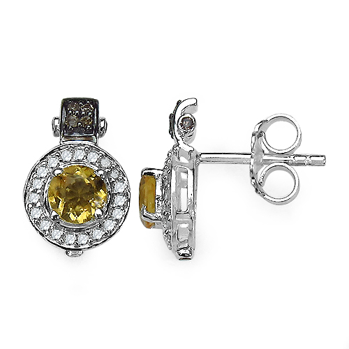 Citrine-1.00 Carat Genuine Citrine and 0.31 ct.t.w Genuine Diamond Accents Sterling Silver Earrings
