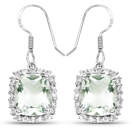 Amethyst-10.48 Carat Genuine Green Amethyst and White Topaz .925 Sterling Silver Earrings