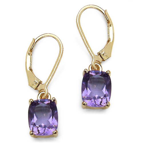 Amethyst-14K Yellow Gold Plated 3.60 Carat Genuine Amethyst Sterling Silver Earrings