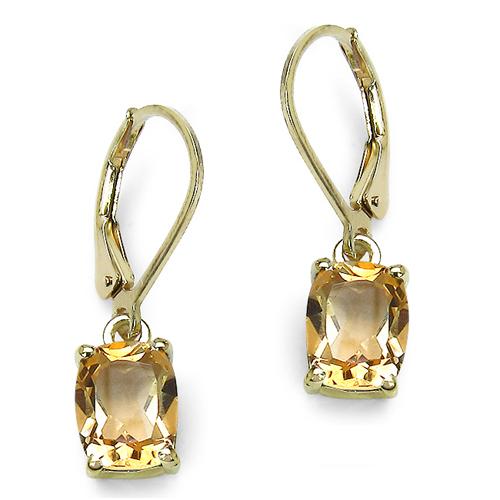 Earrings-14K Yellow Gold Plated 4.08 Carat Genuine Crystal Quartz Sterling Silver Earrings