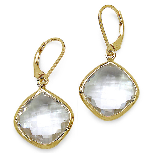 Earrings-14K Yellow Gold Plated 23.86 Carat Genuine Crystal Quartz Sterling Silver Earrings