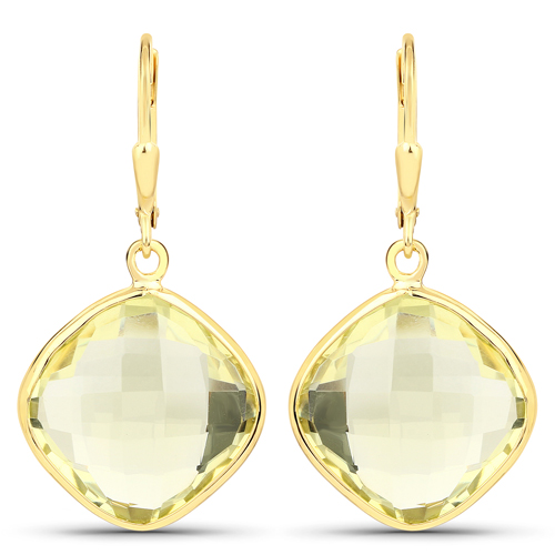 Earrings-14K Yellow Gold Plated 21.40 Carat Genuine Lemon Quartz .925 Sterling Silver Earrings