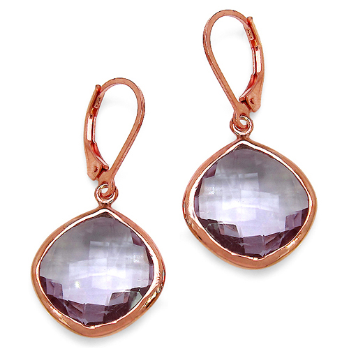 Amethyst-14K Rose Gold Plated 21.20 Carat Genuine Pink Amethyst Sterling Silver Earrings