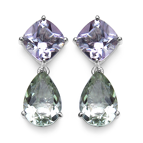 Amethyst-9.41 Carat Genuine Green Amethyst, Pink Amethyst & White Diamond .925 Sterling Silver Earrings