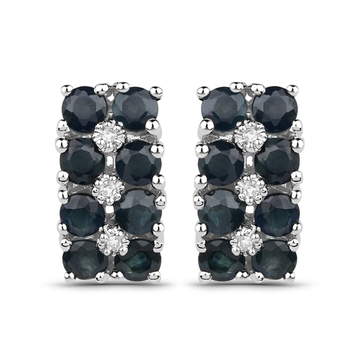 Earrings-1.95 Carat Genuine Blue Sapphire and White Diamond .925 Sterling Silver Earrings