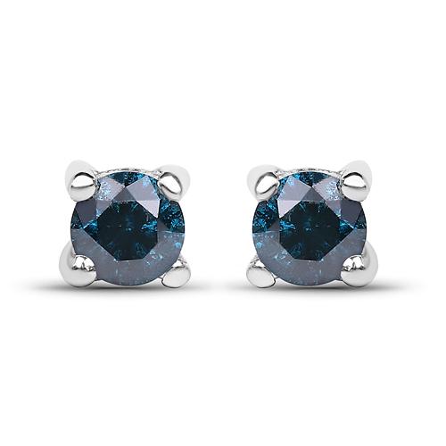 0.21 Carat Genuine Blue Diamond .925 Sterling Silver Earrings