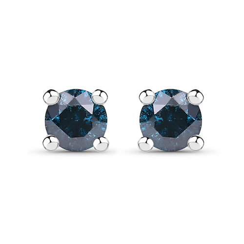 Earrings-0.21 Carat Genuine Blue Diamond .925 Sterling Silver Earrings