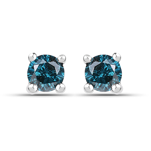 Earrings-0.25 Carat Genuine Blue Diamond .925 Sterling Silver Earrings
