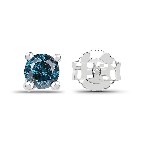 0.25 Carat Genuine Blue Diamond .925 Sterling Silver Earrings