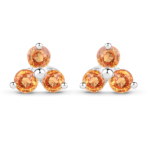 Earrings-0.54 Carat Genuine Orange Sapphire .925 Sterling Silver Earrings