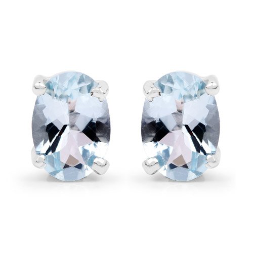 Earrings-1.50 Carat Genuine Aquamarine .925 Sterling Silver Earrings