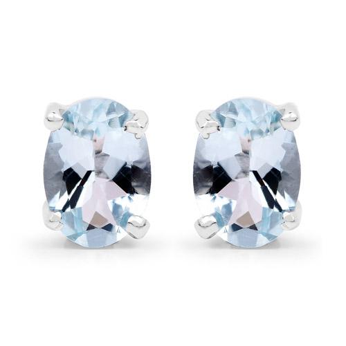 1.50 Carat Genuine Aquamarine .925 Sterling Silver Earrings
