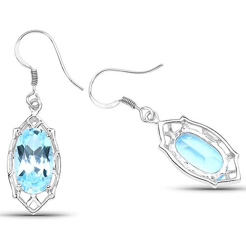 13.68 Carat Genuine Blue Topaz .925 Sterling Silver Earrings