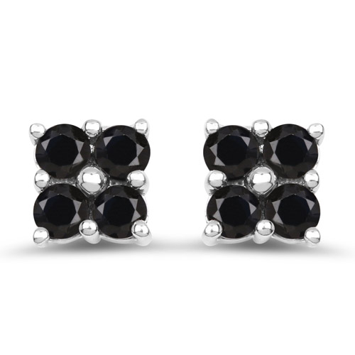 Earrings-1.04 Carat Genuine Black Sapphire .925 Sterling Silver Earrings