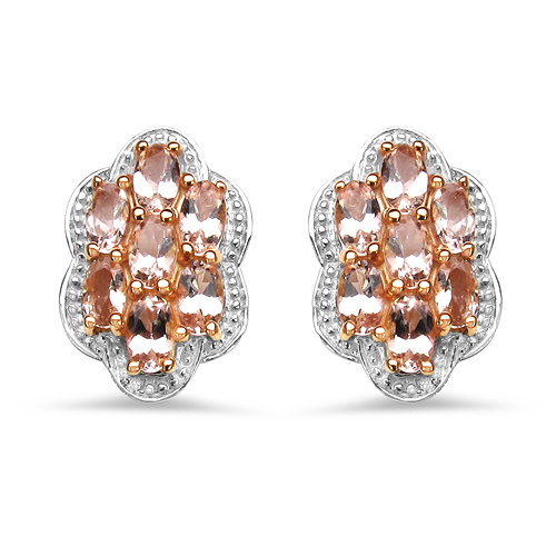 Earrings-18K Rose Gold Plated 3.78 Carat Genuine Morganite .925 Sterling Silver Earrings