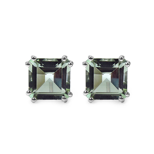 Amethyst-9.00 Carat Genuine Green Amethyst Sterling Silver Earrings