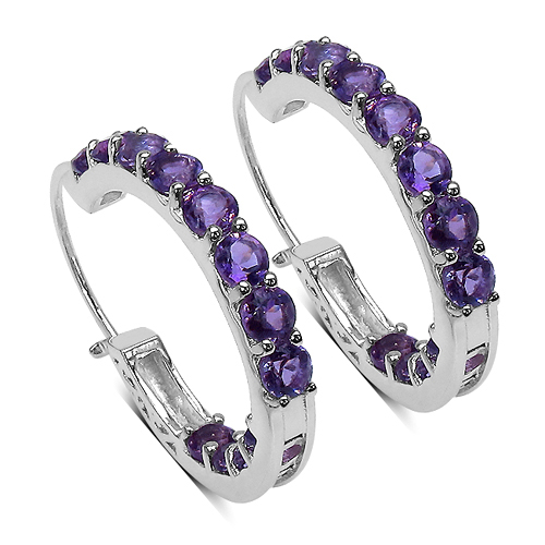 Amethyst-3.60 Carat Genuine Amethyst Sterling Silver Earrings