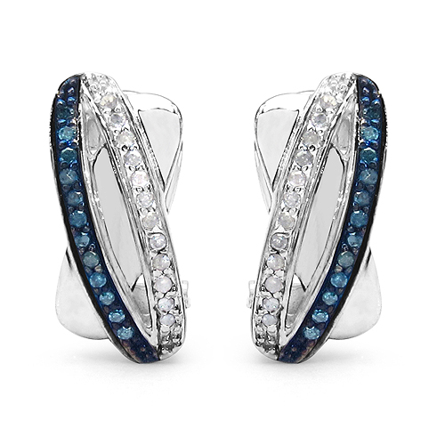 Earrings-0.28 Carat Genuine Blue Diamond & White Diamond .925 Streling Silver Earrings
