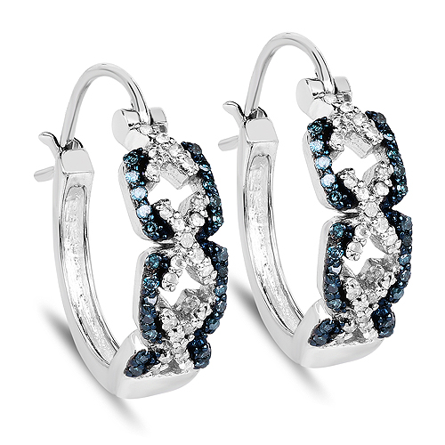 Earrings-0.52 Carat Genuine Blue Diamond and White Diamond .925 Sterling Silver Earrings