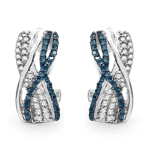 Earrings-0.55 Carat Genuine Blue Diamond & White Diamond .925 Streling Silver Earrings