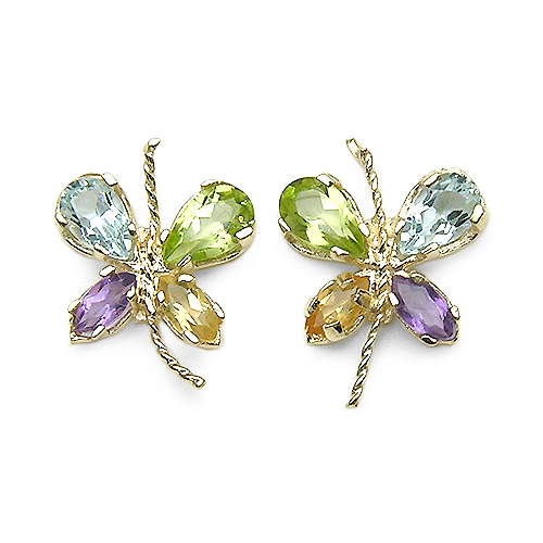Amethyst-1.42 Carat Genuine Multi Stone 10K Yellow Gold Earrings