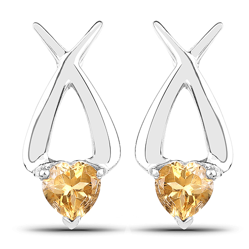 Citrine-1.40 Carat Genuine Citrine .925 Sterling Silver Earrings