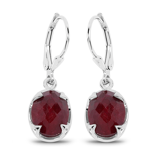 Earrings-6.90 Carat Dyed Ruby .925 Sterling Silver Earrings